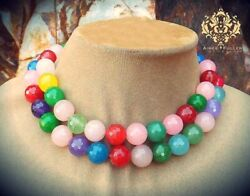Rainbow Faceted Jade Statement Necklace Chunky Red Blue Purple Green Aqua Yellow