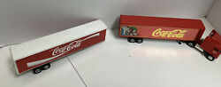 Two Used Coca-cola Trailers 1 Tractor Die Cast Toys