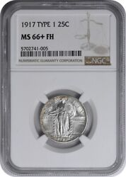 1917 Standing Liberty Silver Quarter Type 1 Ms66+fh Ngc