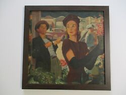 Antique Painting Wpa Style Old Classic Cars Pretty Woman Portrait Ny Regionalism