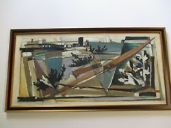 Rare Emil Kosa Jr Painting Mid Century Modern Abstract Cubism City Large 1950