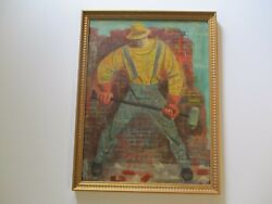 Antique Painting Vintage Wpa Style American Regionalism Construction Worker