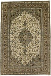 Semi Antique Vintage Beige 8x12 Classic Hand-knotted Wool Oriental Rug Carpet