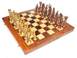 14andprime X 14andprime Collectible Wooden Folding Chess Game Board Set Brass Roman Figure Pcs