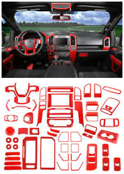 Abs Red Full Interior Accessories Decor Cover Trim 54pcs For Ford F150 2015-2019