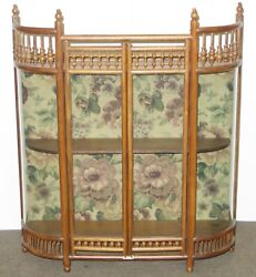 Old Antique Stick And Ball Design Oak Wall Mount Curved Glass Curio Cabinet