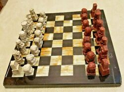 Vintage Small Onyx Chess Game Mexico 7.5 Square Board 1 - 1.5 Aztec Pieces
