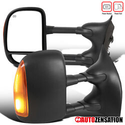 For 1999-2007 F250 F350 F450 F550 Power Heated Tow Side Mirrors+led Signal Lamps