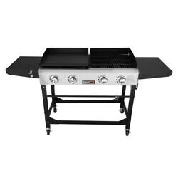 Propane Gas Griddle Combo Grills 4 Burners Side Table Portable Cast Iron Black