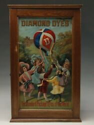 Wonderful And Colorful Antique Diamond Dye Cabinet Featuring Small Children With