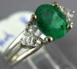Estate 1.63ct Diamond And Aaa Emerald 18kt White Gold Double Heart Engagement Ring