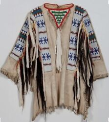 Sioux Style Native American Western Jacket Fringes And Beads Work War Shirt