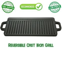 Cast Iron Reversible Grill Griddle Pan Hamburger Steak Stove Top Fry 16.5x9 In
