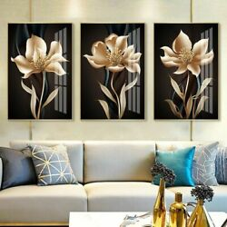Abstract Black Golden Flower Canvas Painting Posters And Prints Wall Art Picture