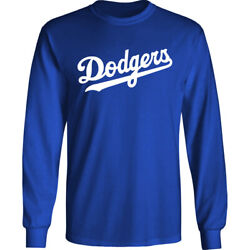 Los Angeles Dodgers Wordmark Long T Shirt LA Men Cotton Blend
