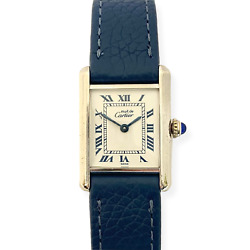 Small Must Tank Sterling Silver Watch On Navy Leather Strap