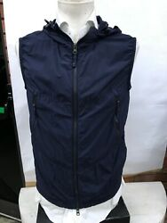 Andeuro 330 Aspesi Vest Tg M Man Blue Made In Italy Cotton Spring Hood