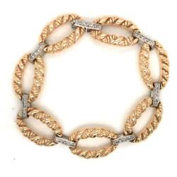 0.50 Tcw Round Diamonds Link Chain Bracelet In Solid 14k Two-tone Gold Size 7
