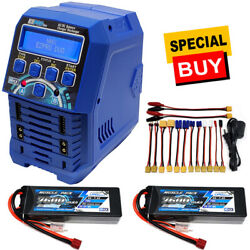Nhx Muscle Pack 2s 7.4v 7600mah 75c Lipo Battery 2 W/deans / Ezpro Duo Charger