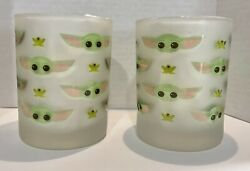 2 Frosted Drinking Glasses The Child Grogu Star Wars Mandalorian Baby Yoda Frog