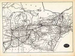 1937 Antique New York Central Railroad Map Vintage Railway Map 8878