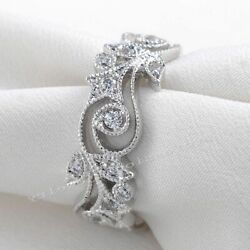 Women Antique Wedding Engagement Rings Flower Design 925 Sterling Silver Jewelry
