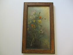 Oil Painting Antique Mystery Floral Flowers Nature Botanical 19th Century Old