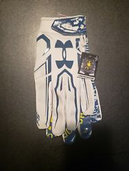 New Under Armour Menand039s Fs Gray/blue Wr Football Gloves Large Limited Edition