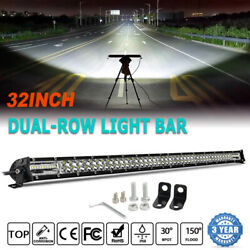 1200w 32inch Led Light Bar Spot Flood Combo For Jeep Tractor Atv 4x4wd Offroad