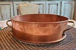 Vintage Solid Copper And Brass Handles Oval Casserole Dish Holder