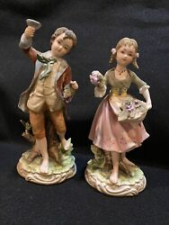 """Andrea By Sadek Boy And Girl Holding Grapes Porcelain Figurines 7161 , 8"""" Tall"""