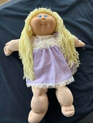 Xavier Robert's Vintage 1984 Green Signature Cabbage Patch Doll Blonde Girl