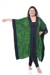 A Realwoman Bright Green Leaves Frog Closure Oronsay Cover Up Jacket 4x 5x 6x 7x