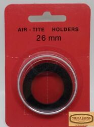 10x 26mm Airtite Coin Holder Capsule Black Ring -small 1, Large Cent - 38974