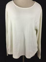 Coldwater Creek Knit Top Size 1x Off White Long Sleeve Cotton
