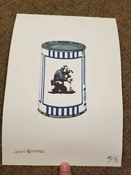 Not Banksy Camera Man Flower Soup Can Edition Ap 2/3 Signed Coa 11x8 2010