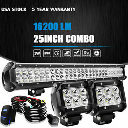 25/24 Led Work Light Bar W/ 4'' Pods Wiring Kit 4wd Truck Suv Atv Driving Lamps