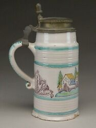 Early Earthenware Faience Stein With Pewter Lid.