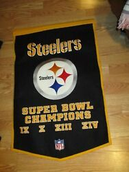 Steelers Super Bowls Champions 1975 1976 1979 1980 Only 4 Banner Wool Pennant