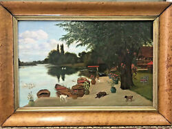 Antique Picturesque Oil Painting Home On Lake W/ Dogs, Swans And More Dated 1887