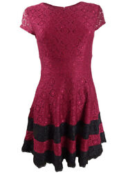 Teeze Me Juniorsand039 Lace Fit And Flare Dress 7/8 Burgundy/black