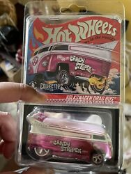 2021 Hot Wheels Rlc Exclusive Candy Striper Volkswagen Drag Bus-pink Logo 5203