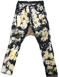 Lion Dynasty Blue And Yellow Jeans Slim 32x32 Acid Wash