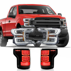 For 2018-2020 F150 Chrome Sequential Headlight+smoke Taillight W/ Red Turn Sig.