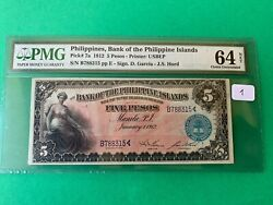 1912 Bank Of Philippines Islands Five Pesos B788315 P-7a Pmg Ch Unc 64 Net
