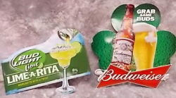 Lot Of 2 Grab Some Buds And Bud Light Lime A Rita Metal Sign Budweiser Signs
