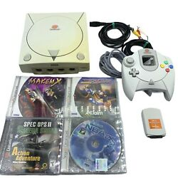 Sega Dreamcast White Gaming Console System Maken X Trick Style Tested