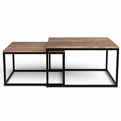 Set Of 2 Squared Off Natural Wood Nesting Coffee Tables