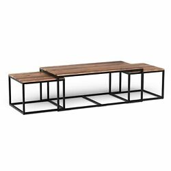 Set Of 3 Natural Wood Nesting Coffee And End Tables