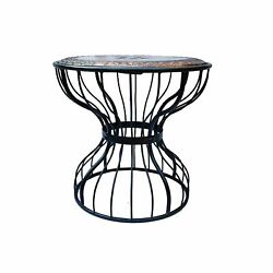 Indian Antique Style Wooden And Wrought Round Shape Tea Coffee Andbedroom Table